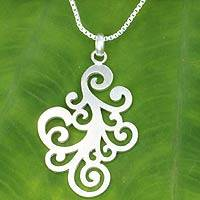 Sterling silver floral necklace, 'New Life' - Sterling Silver Floral Pendant Necklace from Thailand