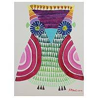 'Owl in the Forest' - Signed Naif Painting Thailand Fine Arts