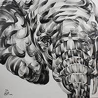 'The Elephant' - Monochrome Elephant Portrait Painting  from Thailand