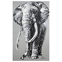 'Powerful Elephant' - Thai Black and White on Grey Signed Painting