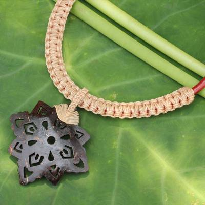 Leather and coconut shell flower necklace, 'Floral Tan' - Thai Leather Necklace with Coconut Shell Flower Pendant
