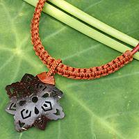 Leather and coconut shell flower necklace, 'Floral Brown' - Hand Made Leather Necklace with Coconut Shell Pendant