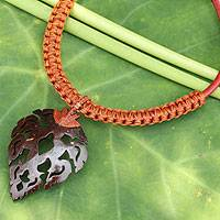Leather and coconut shell flower necklace, 'Fire Leaf in Brown' - Artisan Crafted Leaf Shape Coconut and Leather Necklace