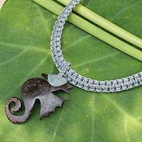 Leather and coconut shell flower necklace, 'Siam Seahorse in Grey' - Fair Trade Leather and Coconut Shell Thai Necklace