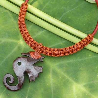 Leather and coconut shell flower necklace, 'Siam Seahorse in Brown' - Artisan Crafted Coconut Shell and Leather Necklace