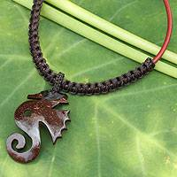 Leather and coconut shell flower necklace, 'Siam Seahorse in Dark Brown' - Brown Artisan Crafted Coconut Shell and Leather Necklace
