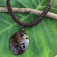 Coconut shell pendant necklace, 'Thai Phoenix in Dark Brown' - Hand Crafted Carved Coconut Shell Phoenix Pendant Necklace