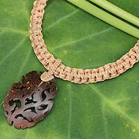 Leather and coconut shell flower necklace, 'China Rose in Tan' - Thai Hand Crafted Leather and Coconut Shell Necklace