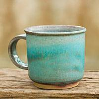 Ceramic mug, 'Earth and Sky' - Thai Handmade Turquoise Blue and Brown Pottery Mug