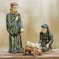 Celadon nativity scene, 'Sacred Celebration' (set of 3) - Green Celadon Nativity Figurines from Thailand (set of 3)