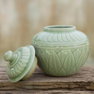 Celadon ceramic jar, 'Green Lotus' - Green Floral Celadon Jar and Lid from Thailand