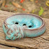 Ceramic soap dish, 'Turquoise Napping Kitty' - Handmade Turquoise Ceramic Cat Soap Dish from Thailand