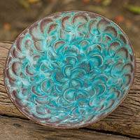 Ceramic bowl, 'Blossoming In Blue' - Thai Artisan Crafted Turquoise Blue Floral Ceramic Bowl