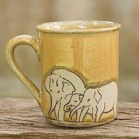 Celadon ceramic mug, 'Yellow Elephant Family' - Yellow Elephant Theme Celadon Ceramic Mug