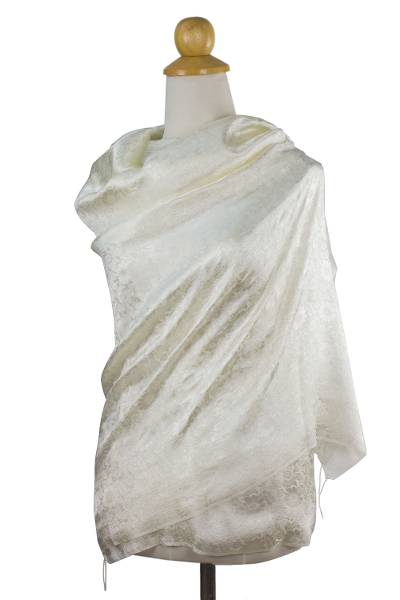 Rayon and silk blend shawl, 'Mandarin Ivory' - Cream Colored Rayon and Silk Blend Jacquard Shawl