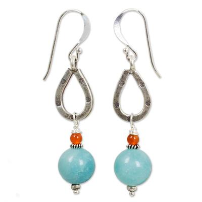 Handmade Amazonite and Carnelian Earrings from Thailand