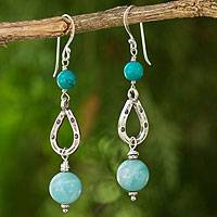 Amazonite dangle earrings, 'Lucky Blue' - Genuine Amazonite and Silver 950 Beaded Dangle Earrings