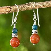 Aventurine and kyanite dangle earrings, 'Pacific Sunset' - Aventurine and Kyanite Bead Earrings with Hill Tribe Silver
