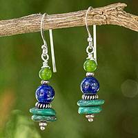 Lapis lazuli dangle earrings, 'Blue Earth' - Handmade Dangle Earrings with Lapis Lazuli and Quartz Beads