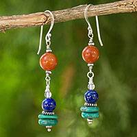 Aventurine and lapis lazuli dangle earrings, 'Orange Sun' - Dangle Earrings from Thailand with Aventurine and Lapis