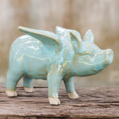 Celadon ceramic figurine, 'Flying Blue Pig' - Handcrafted Blue Ceramic Flying Pig from Thailand