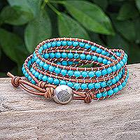 Leather wrap bracelet, 'Cool Sky' - Triple Wrap Leather Bracelet with Reconstituted Turquoise