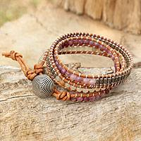 Quartz and lapidolite wrap bracelet,