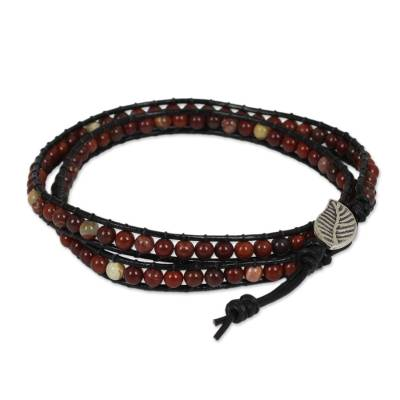 Red Jasper Beaded Leather Wrap Bracelet from Thailand