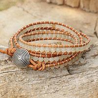Quartz beaded wrap bracelet, 'White Sky' - White Quartz and Leather Wrap Bracelet with 950 Silver