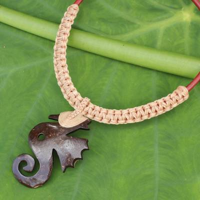 Coconut shell pendant necklace, 'Thai Seahorse' - Seahorse Pendant Necklace with Coconut Shell and Macrame