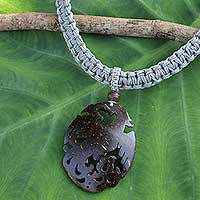 Coconut shell pendant necklace, 'Thai Phoenix in Grey' - Thai Handmade Coconut Shell and Grey Macrame Necklace