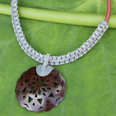 Coconut shell pendant necklace, 'Charming Thailand in Gray' - Coconut Shell Leather and Gray Macrame Pendant Necklace