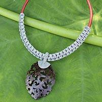 Coconut shell pendant necklace, 'Elegant Thailand in Gray' - Handmade Gray Macrame Necklace with Coconut Shell Pendant