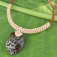 Coconut shell pendant necklace, 'Elegant Thailand in Beige' - Natural Coconut Shell Pendant Necklace with Macrame Cords