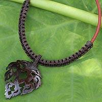 Coconut shell pendant necklace, 'Precious Thailand in Brown' - Handmade Macrame and Coconut Shell Pendant Necklace