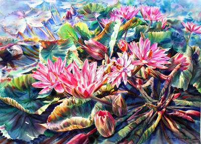 'Pink Blossom' (2014) - Original Signed Watercolor Painting of Pink Water Lilies