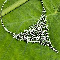 Sterling silver choker, 'Rhythm' - Modern Style Sterling Silver Thai Choker Necklace