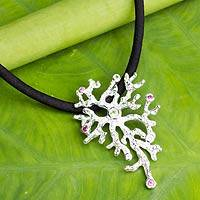 Peridot and tourmaline pendant necklace, 'Sea Mystique' - Sterling Silver Necklace with Gems on Black Silk