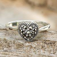 Marcasite cocktail ring, 'Loving Heart' - Thai Silver and Marcasite Heart Cocktail Ring