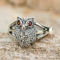 Marcasite and garnet cocktail ring, 'Little Owl' - Thai Garnet and Marcasite Sterling Silver Cocktail Ring