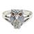 Marcasite and garnet cocktail ring, 'Little Owl' - Thai Garnet and Marcasite Sterling Silver Cocktail Ring (image 2a) thumbail