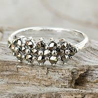 Marcasite cocktail ring, 'Ixora Blossoms' - Thai Hand Crafted Sterling Silver and Marcasite Ring