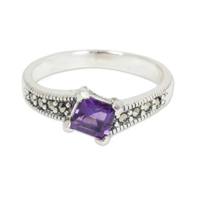 Amethyst solitaire ring, 'Deco Days' - Thai Amethyst and Marcasite Sterling Silver Solitaire Ring
