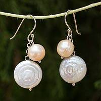 Cultured pearl dangle earrings, 'Pretty Lady' - Handcrafted White Pearl Dangle Earrings from Thailand