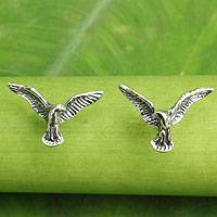 Sterling silver button earrings, 'Eagle's Flight' - Original Handmade Sterling Silver Eagle Button Earrings