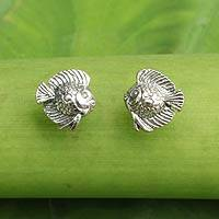 Sterling silver button earrings, 'Happy Fish' - Small Fish Button Earrings in Sterling Silver
