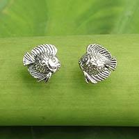 Sterling silver button earrings, 'Happy Fish'