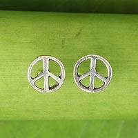 Sterling silver stud earrings, 'Peace Sign'