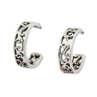 Filigree Style Half Hoop Sterling Silver Earrings