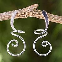 Sterling silver drop earrings, 'Lovely Spiral' - Artisan Crafted Sterling Silver Drop Earrings from Thailand